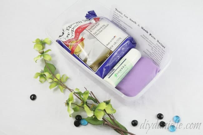 A pain relief kit for back and neck pain that helps keep me organized.