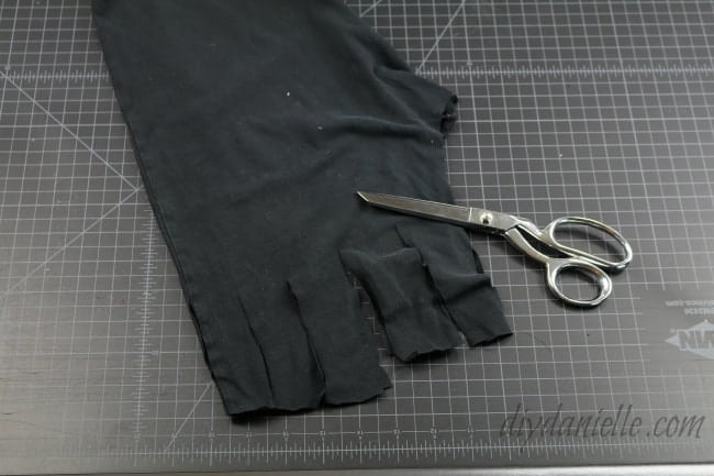 Cut vertical cuts and tie together for the top.
