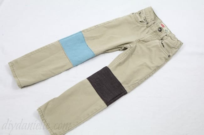 Completed patched pants... very simple, durable, and effective.