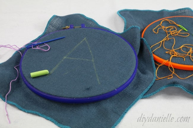 Optional: Give the children a chalk line to sew along.