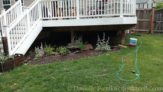 Before photo of the area we wanted to place our privacy planter and trellis.