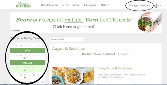 Choosing meals and managing deliveries for Terra's Kitchen