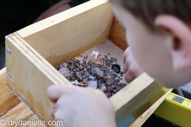 DIY Mining Sluice: Checking out gems.