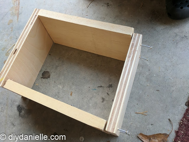 Simple rectangular box built with scraps for mining gems.