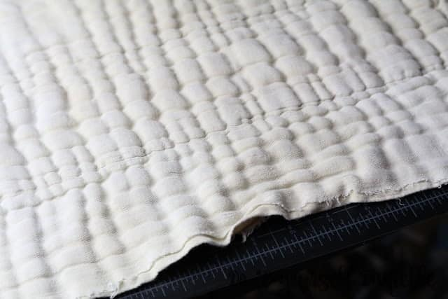 Frayed edges on prefold diapers.