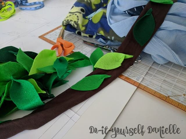 Leaves for a DIY tree costume.