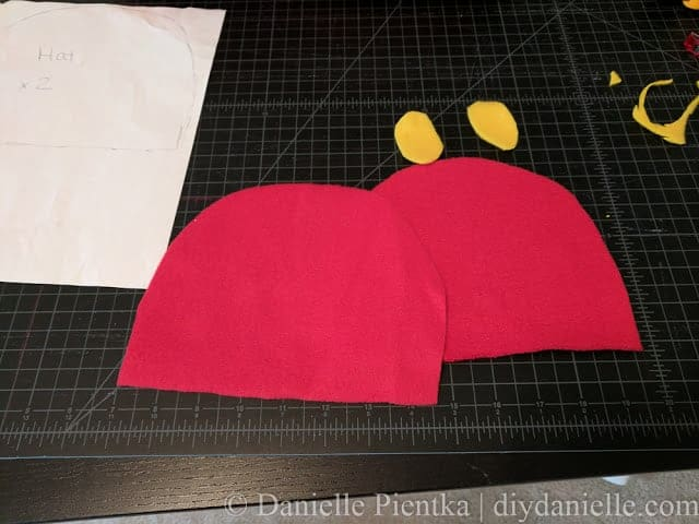 Hat pieces for making baby a Hungry Caterpillar hat