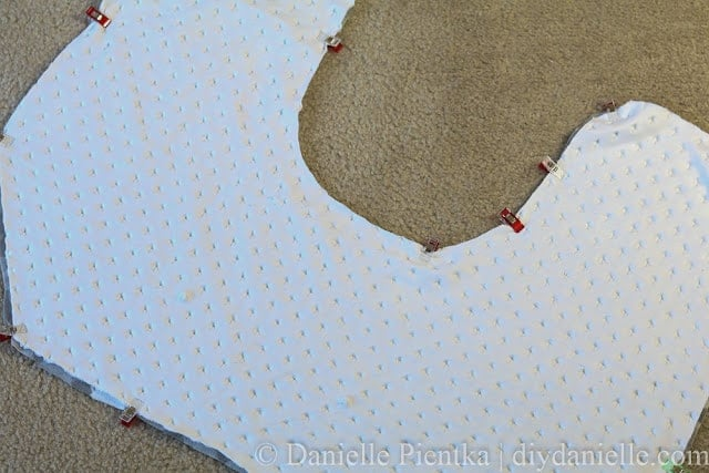 Pin right sides together for your nursing pillow.