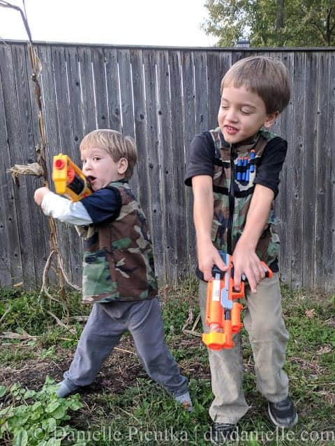 Matching DIY Nerf Vests for 4 and 6 year old brothers