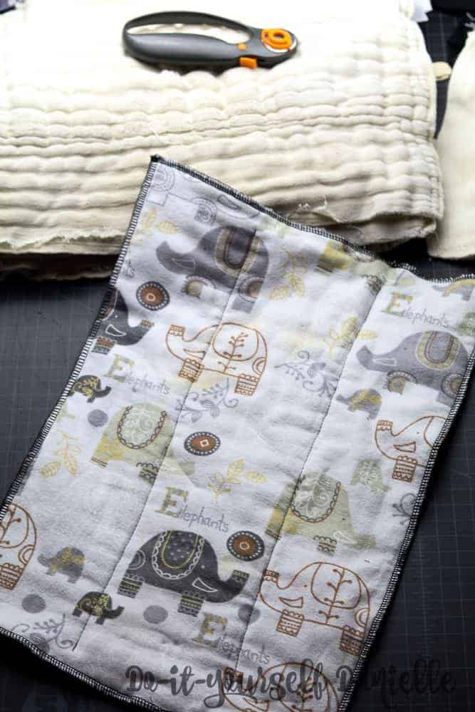 Flannel covered cloth diaper.