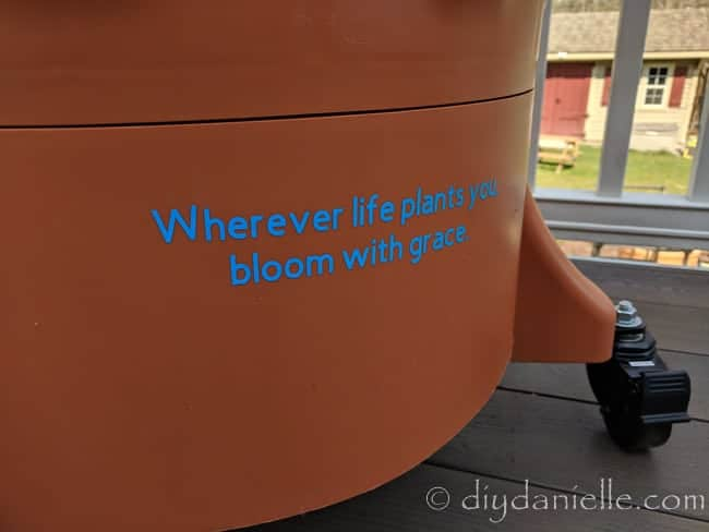 Quote: Wherever life plants you, bloom with grace. On the Garden Tower 2
