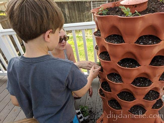 Adding plants to a garden tower with a child.
