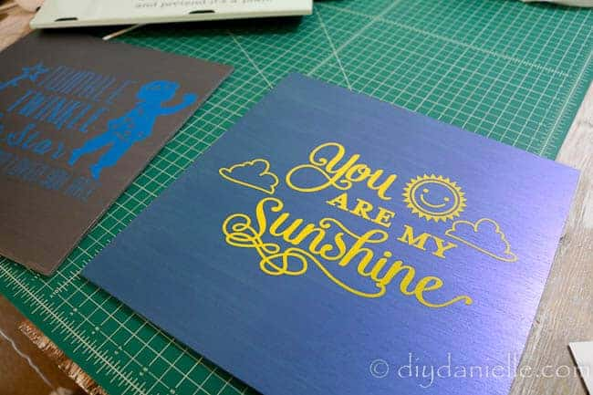 """""""You are my sunshine"""" nursery sign with metallic blue flash paint and yellow outdoor vinyl."""
