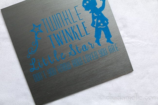 Nursery sign: Twinkle twinkle little star, don't you know how loved you are. Made with a Cricut machine and viny.