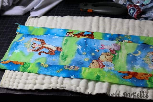 Cotton fabric with edges ironed.