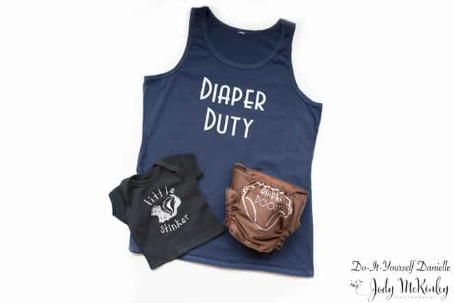 How to create this diaper duty shirt set with your Cricut machine.