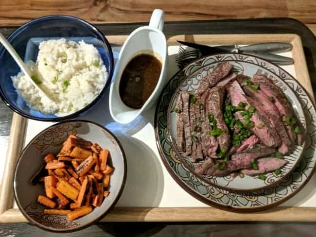 Steak and sides with a Blue Apron meal.