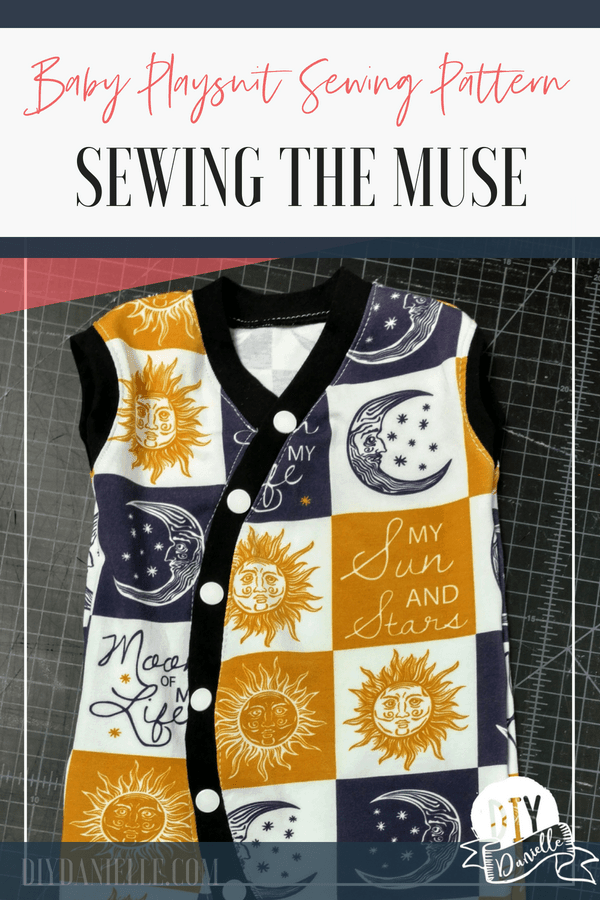 The Muse is a sewing pattern for a baby playsuit. This adorable outfit is perfect for sizes NB through 4T. Sew one now!