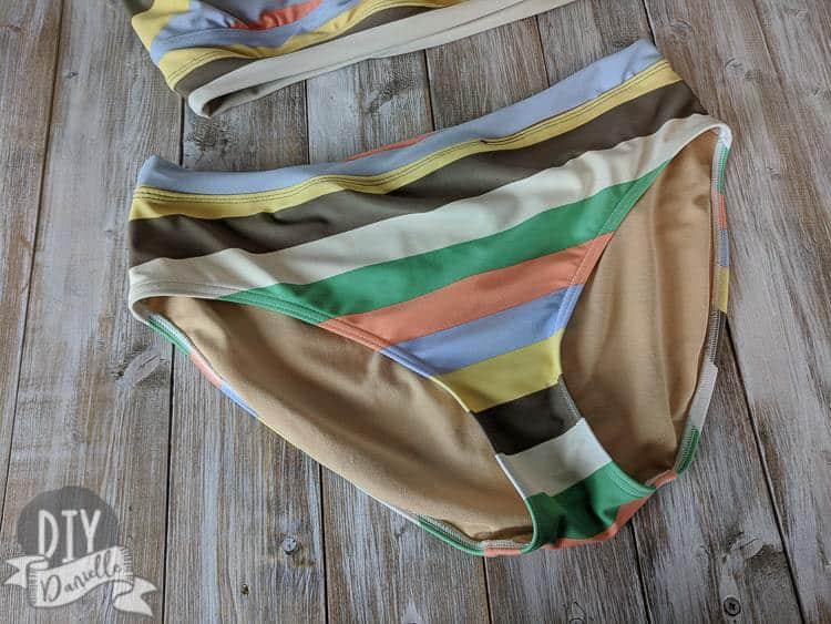 Finished bikini bottoms made from a one piece swim suit.
