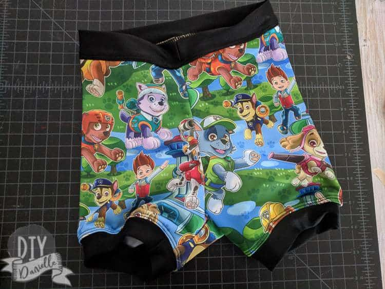 Swimmers pattern with Paw Patrol fabric for a 5 year old boy.