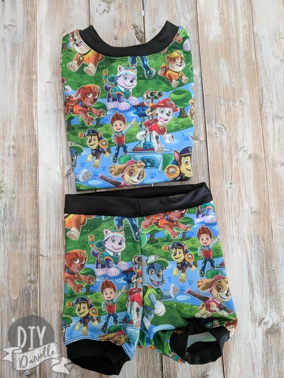 This bathing suit set was made with a rashguard and swimmers pattern. Get my tips and adjustments here. Paw Patrol Swim Shorts and Rashguard set.