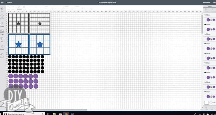 Free Cricut file for the car window Bingo board.