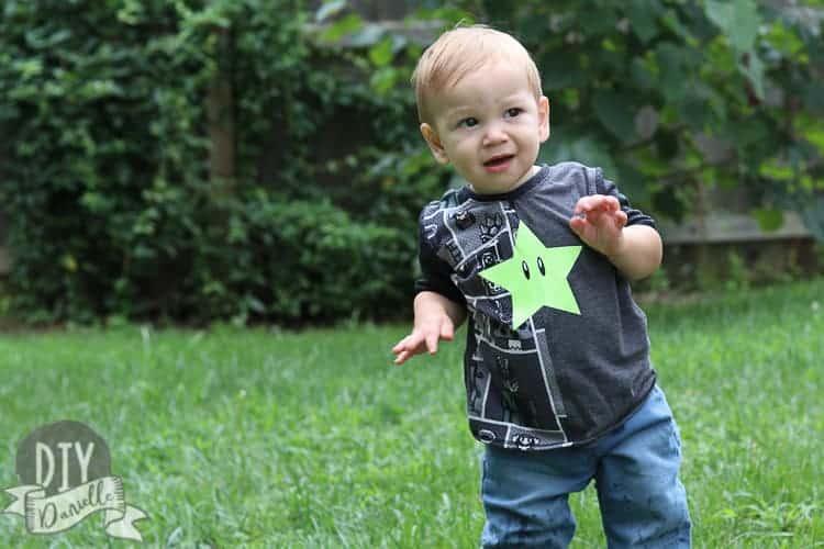LittleboywearingtheHalfPipeT Shirt.HTVStaronaMarioT shirt.