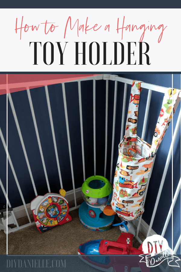 How to make a hanging toy holder to attach to a baby gate. Perfect for small toys!