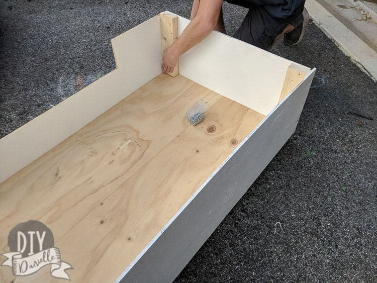 Added 2x4s to give me something to attach the plywood to.