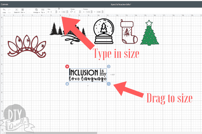 Resizing images in Cricut Design Space- you can either type the size at the top or drag to the correct size.