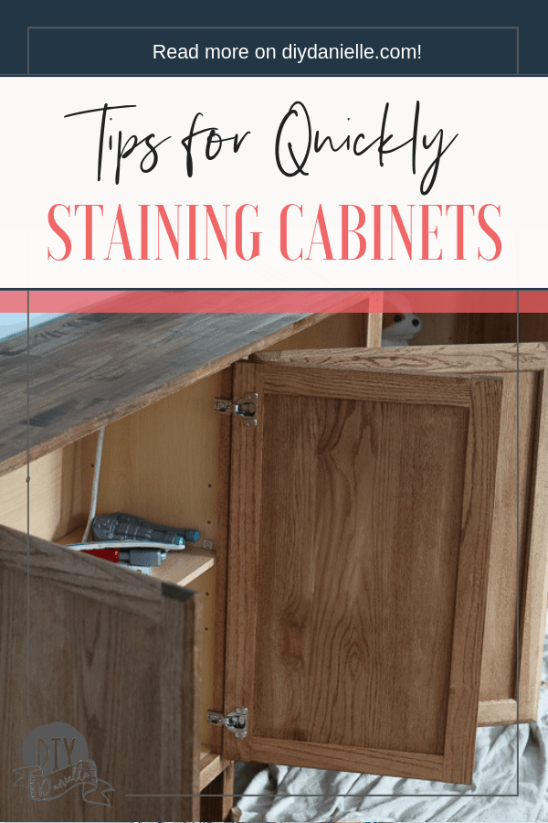 Tips for staining cabinets quickly, without removing the doors and spending lots of time letting stain dry. This 'work smart, not hard' method isn't the perfect way, but it's the fast way to get it done.