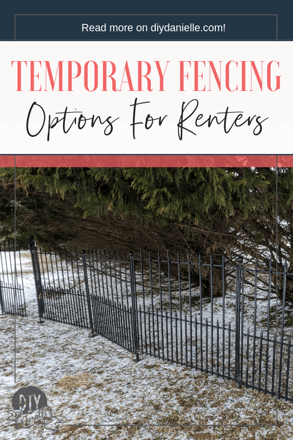 Temporary fencing options for renters. These black panels are easy to install and easy to move.
