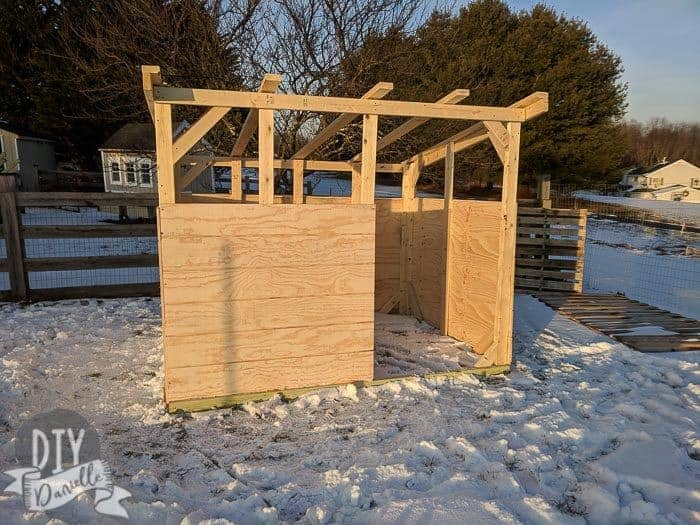 Goat shed with the first panels installed.