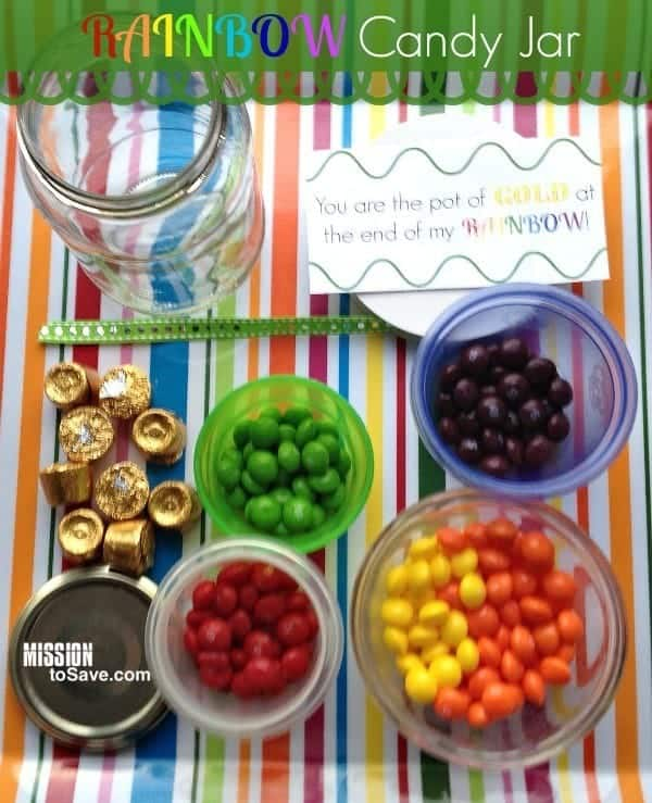Sweet and Simple DIY Gift - Rainbow Candy Jar (+ Free Printable Tags)