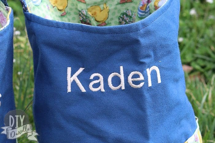 "Name ""Kaden"" embroidered on an Easter basket."