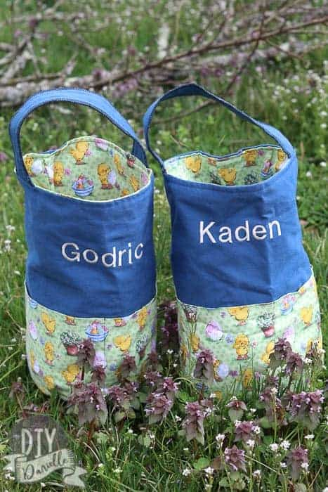 These Easter baskets were easy to make and have pockets around the outside of the bags. I embroidered the names on, but you could also use heat transfer vinyl to add names to the bags as well.