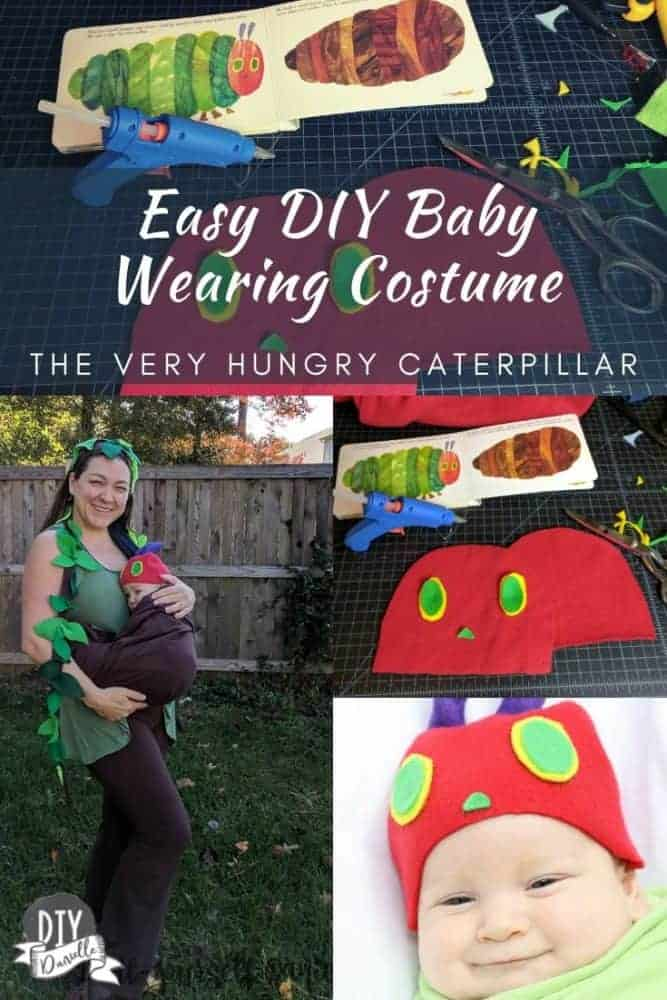 Easy DIY baby wearing costume using a ring sling. Baby went as The Very Hungry Caterpillar, mom went as the tree, and the ring sling functioned as a cocoon.