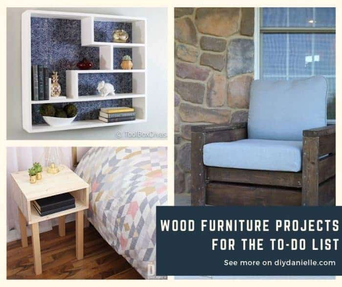 DIY furniture projects- Wall shelf, outdoor chair, and side table in a bedroom.
