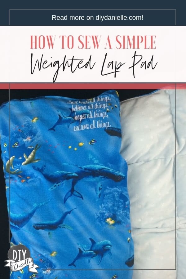 Weighted lap pad DIY with embroidery.