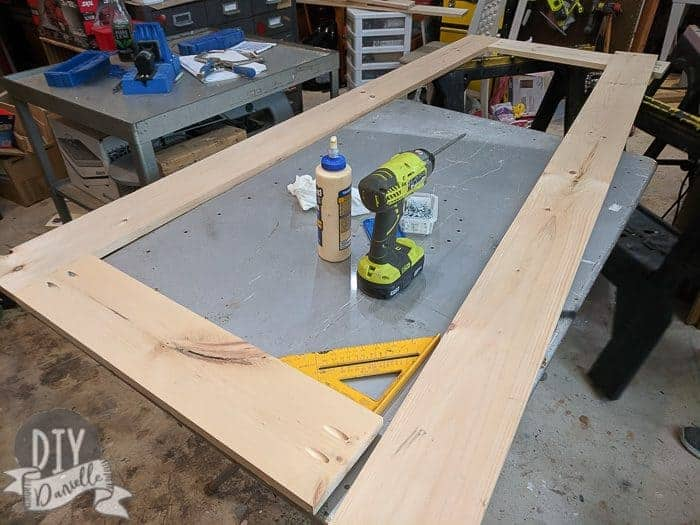 Finishing up the last piece for the frame of the screen door.