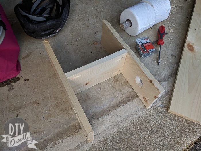 Attached middle shelf. I used pocket holes but screwing from the outside would be easier.