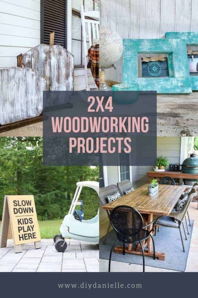 "Pin image with text overlay saying ""2x4 woodworking Projects"""