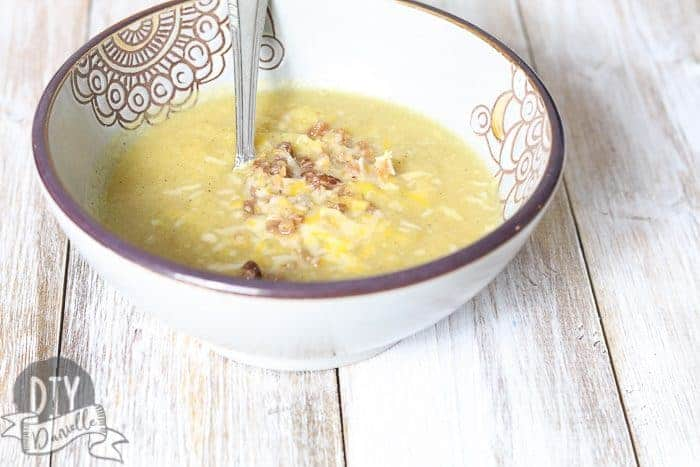 Crockpot pumpkin soup with bacon bits and cheese in it! YUM!