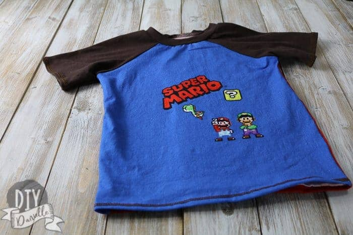 Super Mario panel for the front of this boy's shirt.