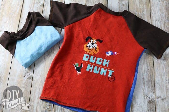Duck Hunt panel on a handmade boy's shirt.