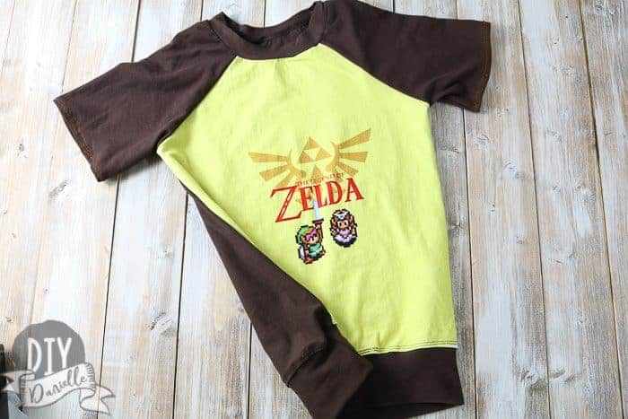 Boy's Raglan Pattern sewn up: Zelda panel for the front of the shirt, the neckband, sleeves, and shirt back are brown.