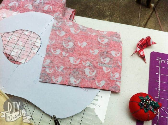 Square cut for the taggy blanket.