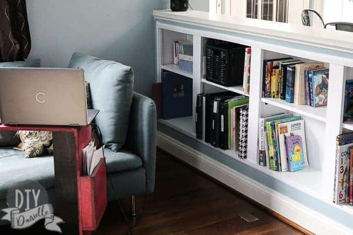 Recessed bookshelves in the living room.