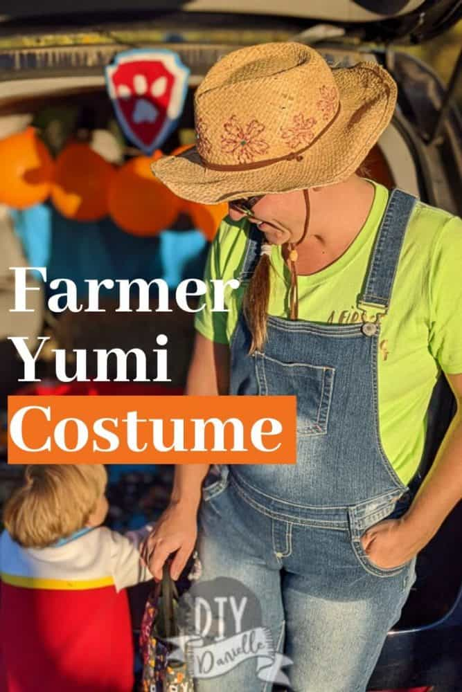 DIY Farmer Yumi costume made with a bunch of easy to find clothing items...