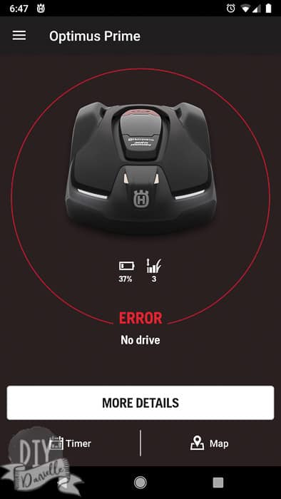 Error warning on the mower, showing up in the AMC app.